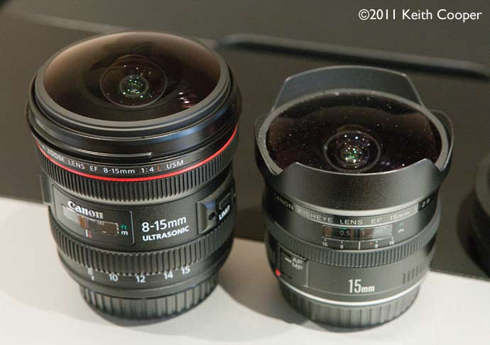 EF8-15mm f/4L Fisheye USM lens compared to the EF15mm