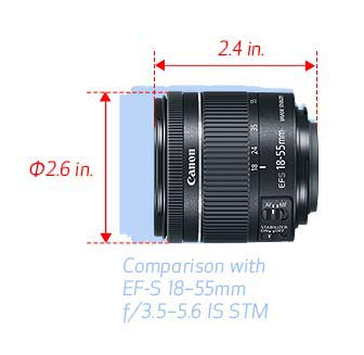 canon 18-55 f4-5.6 is stm size comparison