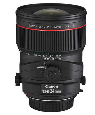 canon TS-E 24mm f/3.5L II tilt and shift lens